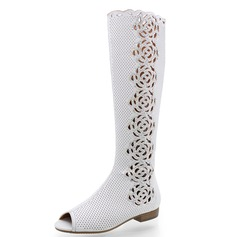 Leatherette Flat Heel Knee High Boots With Rhinestone Hollow-out shoes