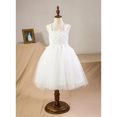 A-Line/Princess Knee-length Flower Girl Dress - Satin/Tulle Square Neckline With Appliques