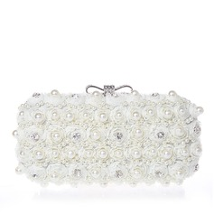 Pearl Style Lace With Pearl/Rhinestone Clutches