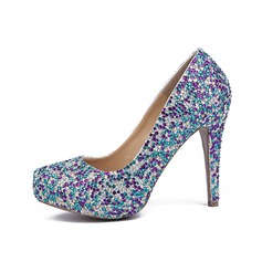 Women's Real Leather Stiletto Heel Pumps Closed Toe With Rhinestone shoes (085071461)