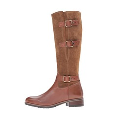 Women's Leatherette Low Heel Knee High Boots With Buckle shoes