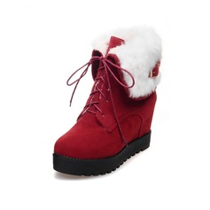 Women's Suede Flat Heel Ankle Boots With Buckle Fur Braided Strap shoes