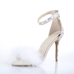 Women's Suede Stiletto Heel Pumps Sandals With Feather
