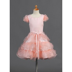 A-Line/Princess Knee-length Flower Girl Dress - Organza/Satin Short Sleeves Scoop Neck With Ruffles