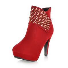 Leatherette Stiletto Heel Platform Ankle Boots With Rhinestone Zipper shoes