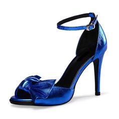 Real Leather Stiletto Heel Sandals Peep Toe With Bowknot Buckle shoes