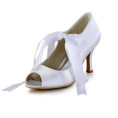 Satin Cone Heel Peep Toe Pumps Wedding Shoes With Lace-up (047026396)