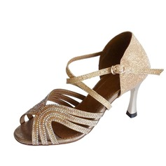 Women's Sparkling Glitter Heels Sandals Latin Dance Shoes