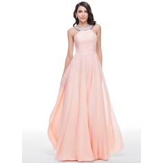 A-Line/Princess Scoop Neck Floor-Length Chiffon Prom Dress With Beading (018059409)