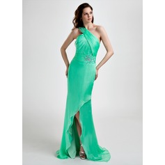 Sheath/Column One-Shoulder Asymmetrical Chiffon Prom Dress With Ruffle Beading