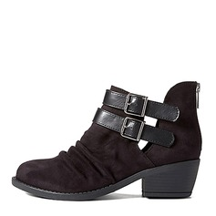 Women's Leatherette Chunky Heel Boots Ankle Boots With Buckle shoes