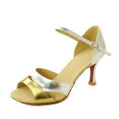 Women's Leatherette Heels Pumps Latin With Buckle Dance Shoes