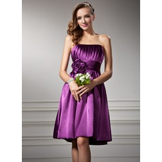 Empire Strapless Knee-Length Charmeuse Homecoming Dress With Ruffle Flower(s)