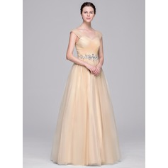 Ball-Gown V-neck Floor-Length Tulle Wedding Dress With Ruffle Beading Appliques Lace Sequins