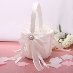 Flower Basket Ivory With Bow Rhinestones Ribbons (102026347)