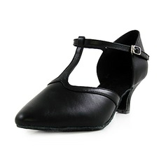 Women's Real Leather Heels Pumps Modern With T-Strap Dance Shoes (053013128)