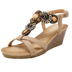 Women's Leatherette Wedge Heel Sandals With Beading shoes (087093227)