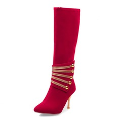 Women's Suede Stiletto Heel Pumps Closed Toe Mid-Calf Boots With Sequin shoes