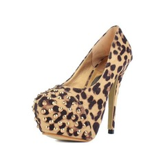 Leatherette Stiletto Heel Pumps Closed Toe With Rivet Animal Print shoes
