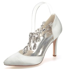 Women's Satin Stiletto Heel Closed Toe Pumps With Rhinestone Crystal