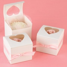 Heart Shape Laser Cut Cubic Cupcake Boxes With Ribbons (Set of 12)