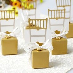 Chair Design Favor Boxes With Ribbons/Heart Charm (Set of 12)