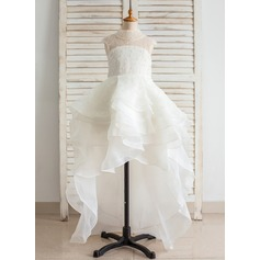 Ball Gown Asymmetrical Flower Girl Dress - Organza/Satin/Lace Stand Collar With Beading/Back Hole