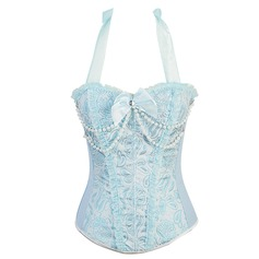 Polyester Halter Lace-Up/Side Zipper Closure Shapewear