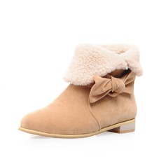 Suede Low Heel Closed Toe Ankle Boots Snow Boots With Bowknot shoes