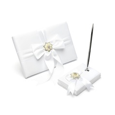 Perfect Satin Faux Pearl/Ribbons/Rhinestones Guestbook/Pen Set