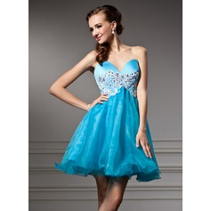 Empire Sweetheart Short/Mini Organza Homecoming Dress With Beading Appliques Lace Sequins