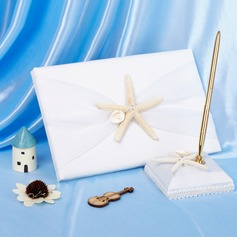 Satin Starfish and Seashell Guestbook/Pen Set