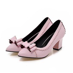 Women's Leatherette Chunky Heel Pumps Closed Toe With Bowknot Others shoes