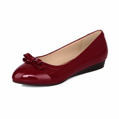 Patent Leather Flat Heel Flats Closed Toe With Bowknot shoes