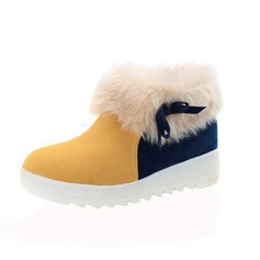 Suede Flat Heel Flats Platform Closed Toe Ankle Boots Snow Boots With Feather Split Joint shoes