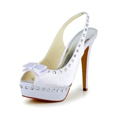 Women's Satin Stiletto Heel Pumps Sandals With Bowknot Rhinestone