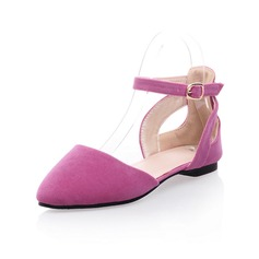 Suede Flat Heel Flats Closed Toe With Buckle shoes