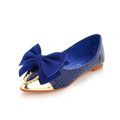 Patent Leather Flat Heel Closed Toe Flats With Bowknot