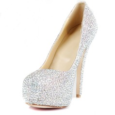 Rubber Stiletto Heel Closed Toe Platform Pumps With Rhinestone