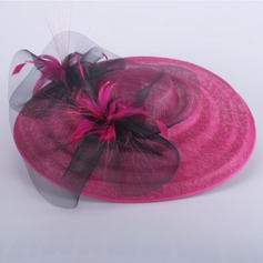 Ladies' Beautiful Summer Cambric/Net Yarn With Feather Bowler/Cloche Hat