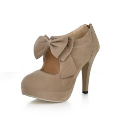 Suede Stiletto Heel Closed Toe Platform Pumps Ankle Boots With Bowknot Zipper (085022874)