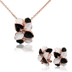 Exquisite Rose Gold Plated Tin Alloy With Zircon Ladies' Jewelry Sets
