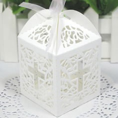 Cross Laser Cut Cubic Favor Boxes With Ribbons