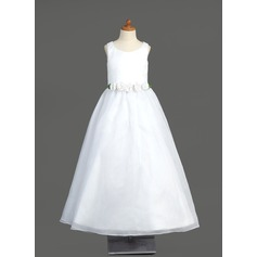 A-Line/Princess Floor-length Flower Girl Dress - Organza Sleeveless Scoop Neck With Flower(s)