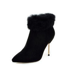 Women's Suede Stiletto Heel Ankle Boots With Fur shoes