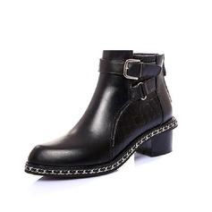 Women's Real Leather Flat Heel Ankle Boots Riding Boots With Rivet Buckle Split Joint shoes
