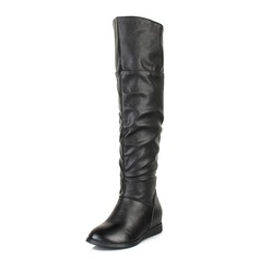 Leatherette Flat Heel Knee High Boots With Ruched shoes