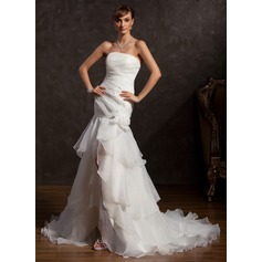 Trumpet/Mermaid Strapless Asymmetrical Organza Wedding Dress With Lace Flower(s) Split Front Cascading Ruffles