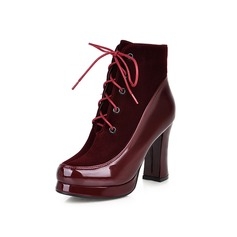 Women's Suede Patent Leather Chunky Heel Mid-Calf Boots With Braided Strap shoes