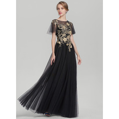 A-Line/Princess Scoop Neck Floor-Length Tulle Evening Dress With Lace (017153417)